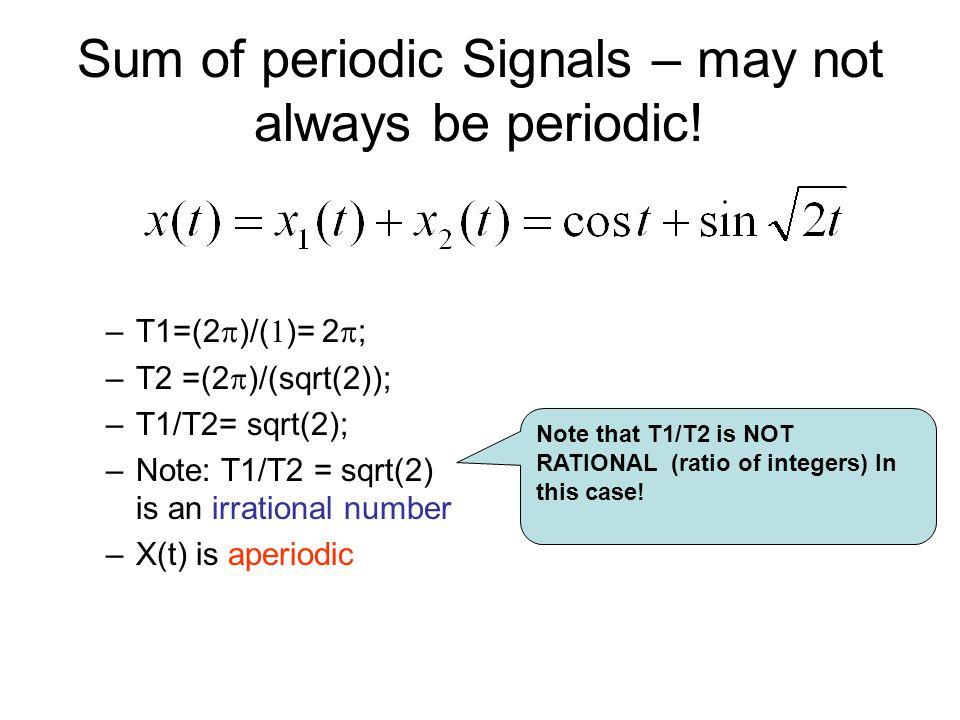 Sum of periodic Signals – may not always be periodic!
