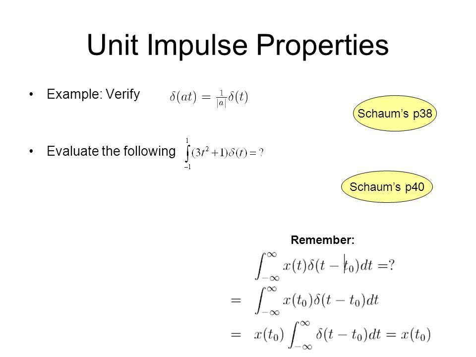 Unit Impulse Properties