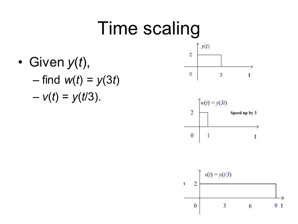 Time scaling Given y(t), find w(t) = y(3t) v(t) = y(t/3).