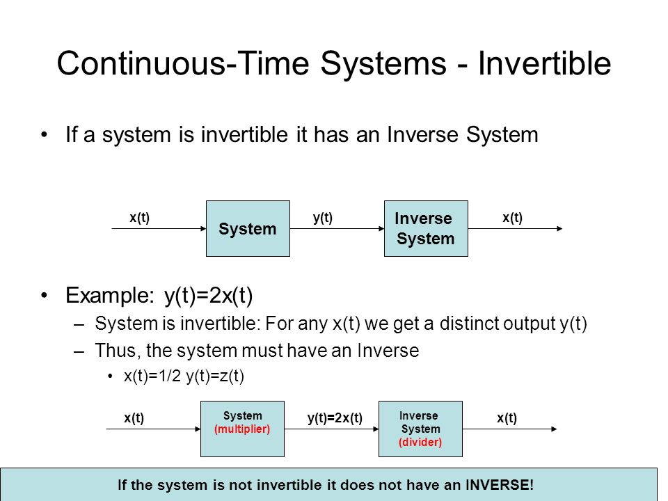 Continuous-Time Systems - Invertible
