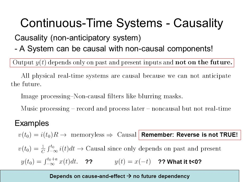 Continuous-Time Systems - Causality