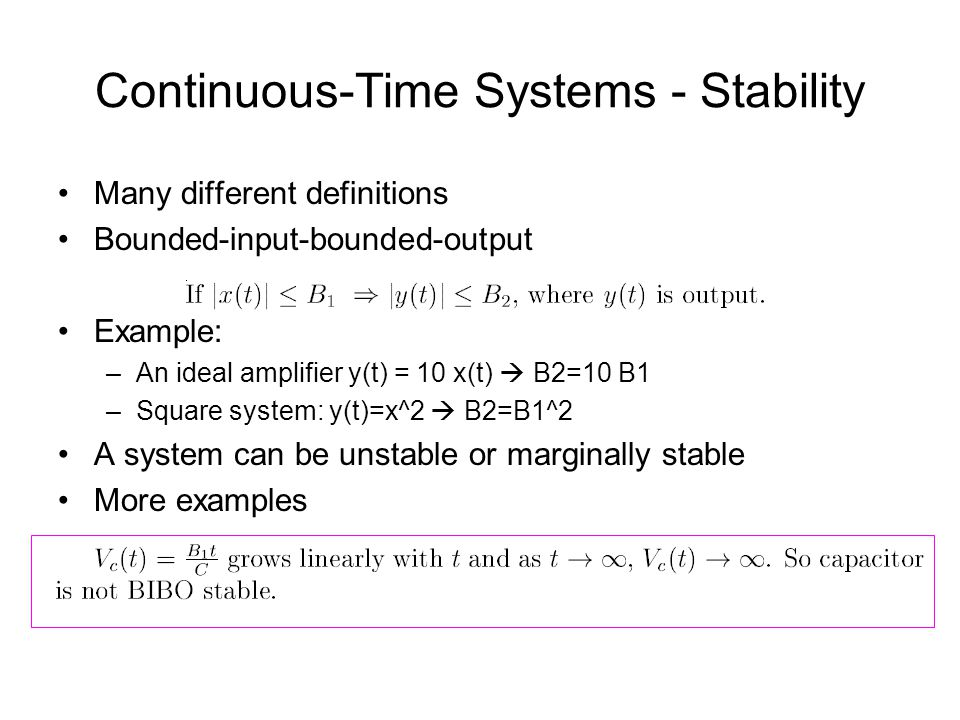 Continuous-Time Systems - Stability