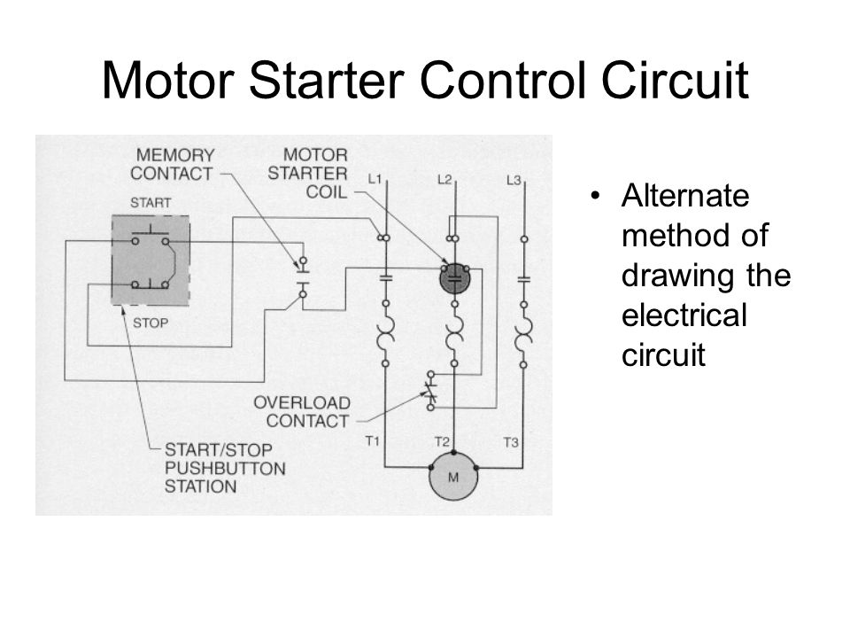 wiring schematic alternating motor overload and contactor