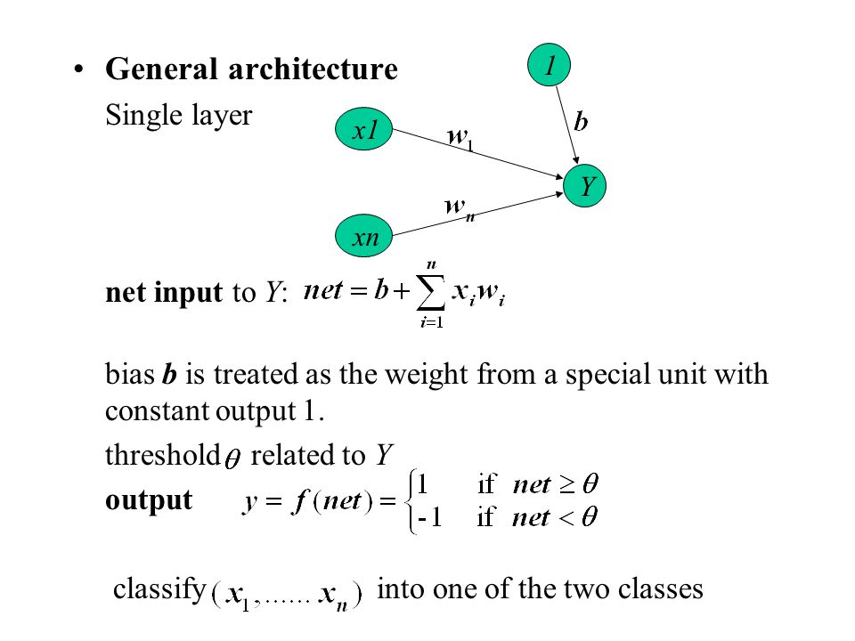 General architecture Single layer net input to Y: