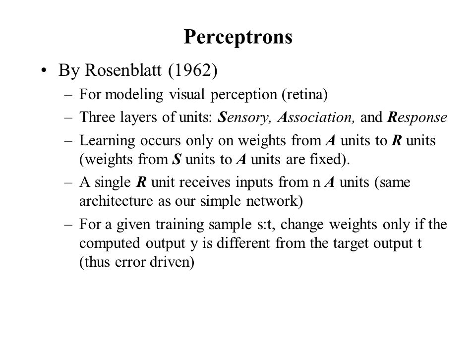 Perceptrons By Rosenblatt (1962)