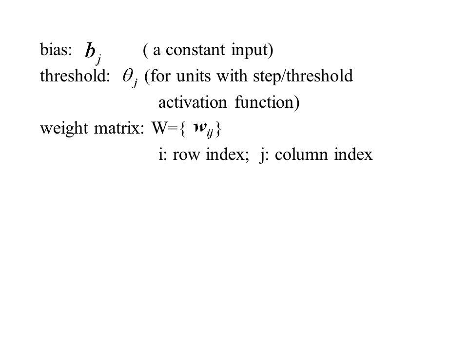 bias: ( a constant input)