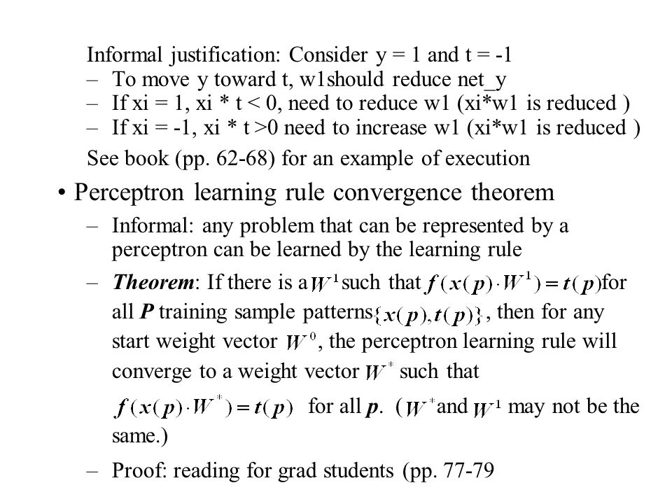 Perceptron learning rule convergence theorem