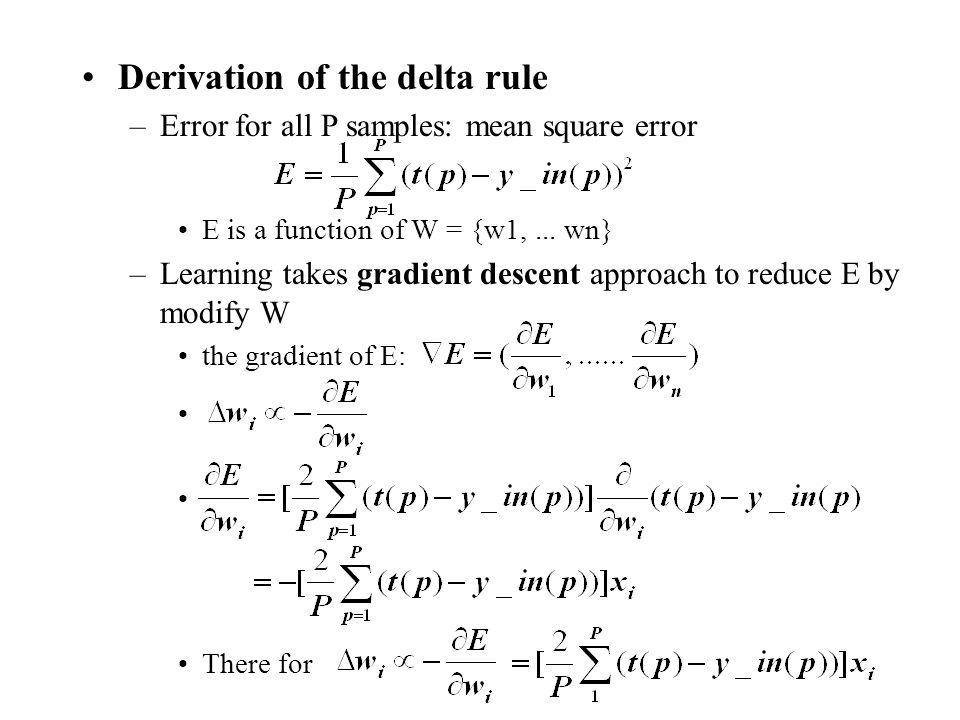 Derivation of the delta rule
