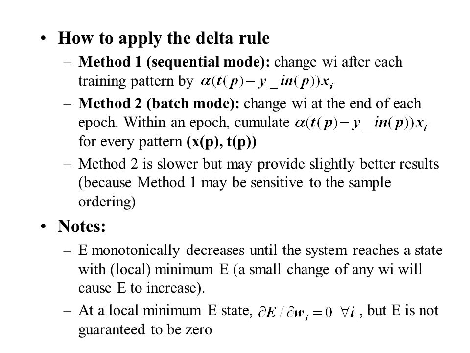 How to apply the delta rule