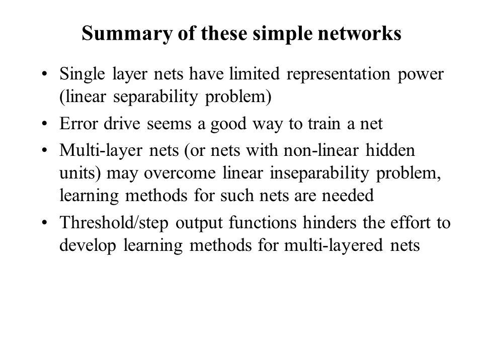 Summary of these simple networks