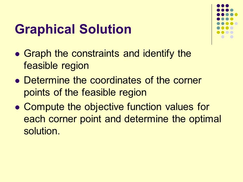 Graphical Solution Graph the constraints and identify the feasible region. Determine the coordinates of the corner points of the feasible region.