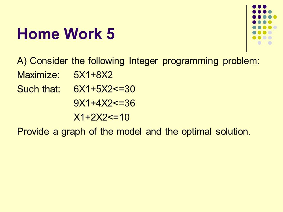 Home Work 5 A) Consider the following Integer programming problem:
