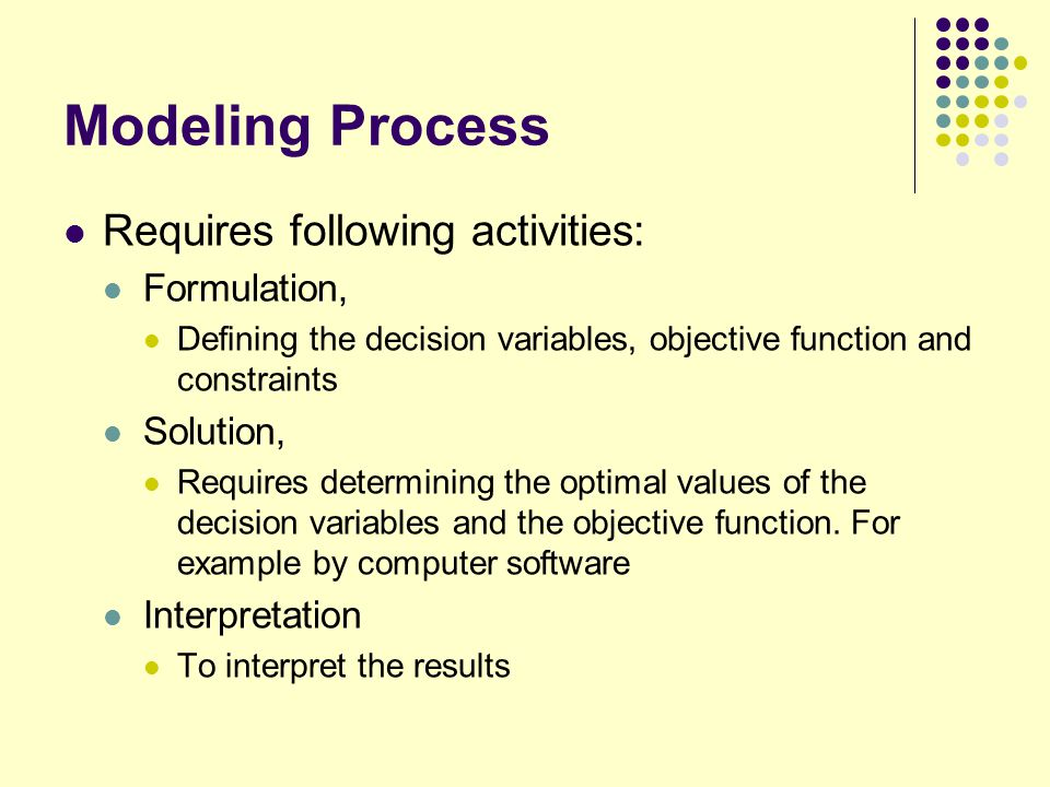 Modeling Process Requires following activities: Formulation, Solution,