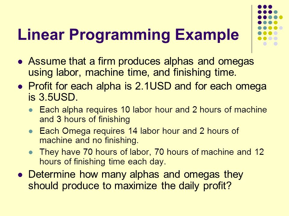 Linear Programming Example