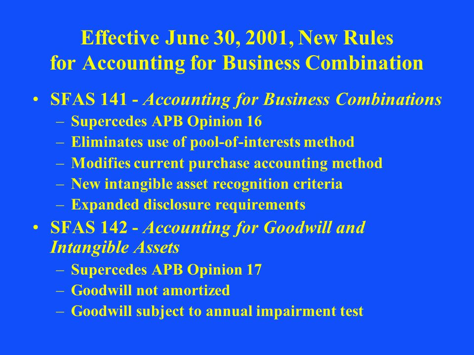 Effective June 30, 2001, New Rules for Accounting for Business Combination