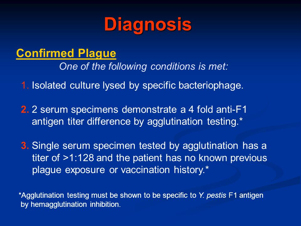 Diagnosis Confirmed Plague One of the following conditions is met: