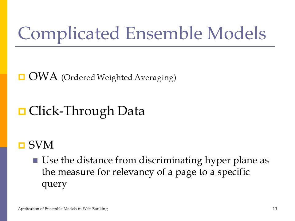 Complicated Ensemble Models