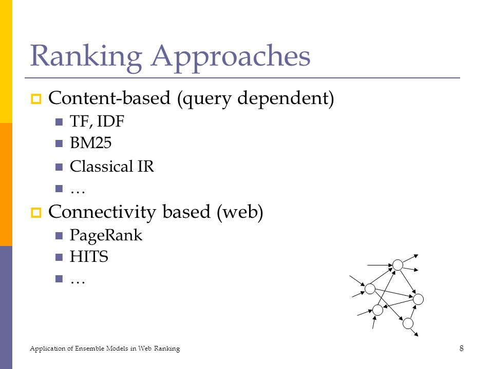 Ranking Approaches Content-based (query dependent)