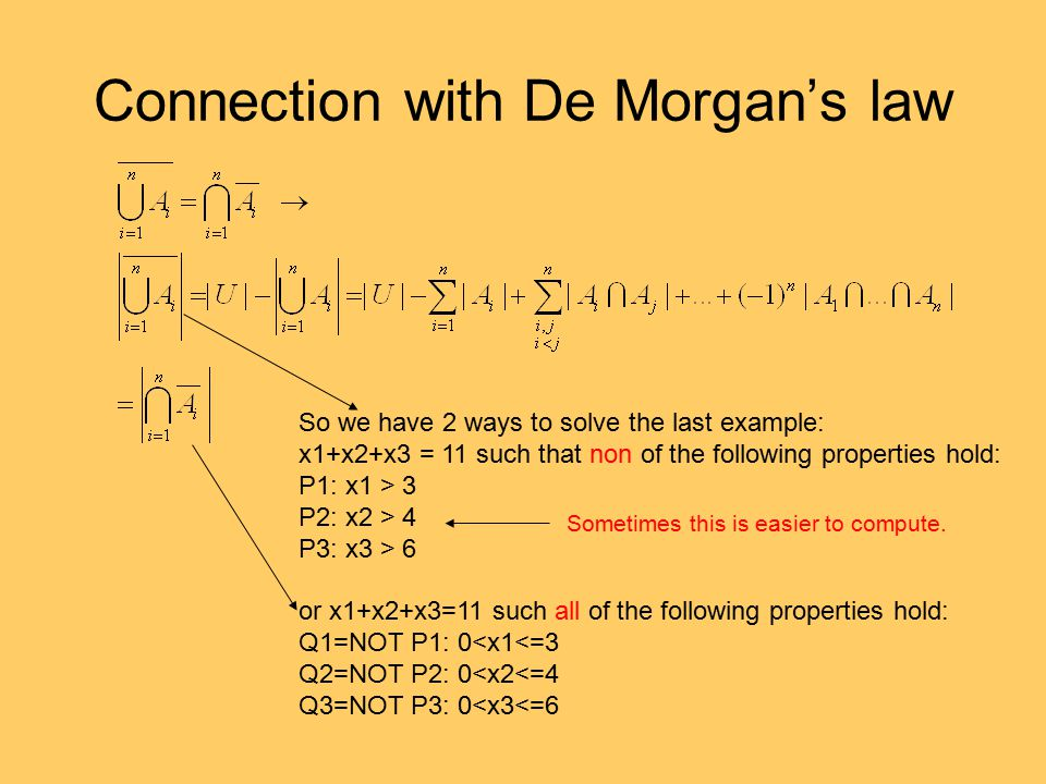 Connection with De Morgan's law
