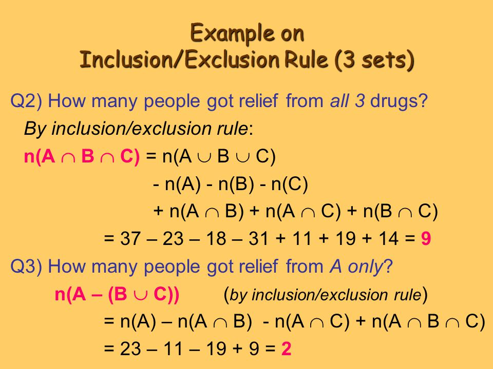 Example on Inclusion/Exclusion Rule (3 sets)