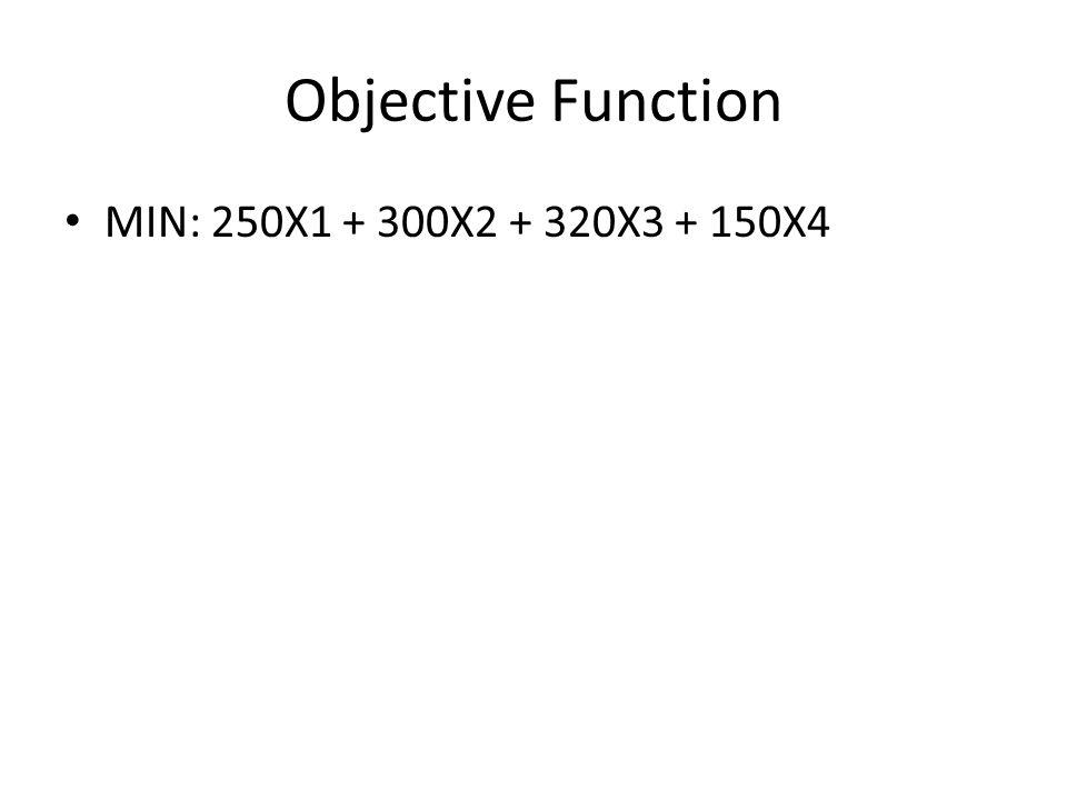 Objective Function MIN: 250X1 + 300X2 + 320X3 + 150X4