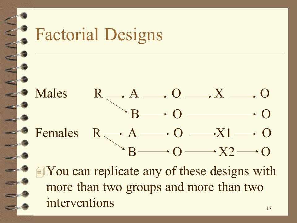 Factorial Designs Males R A O X O B O O Females R A O X1 O B O X2 O