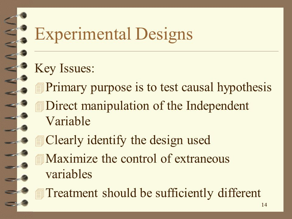 Experimental Designs Key Issues: