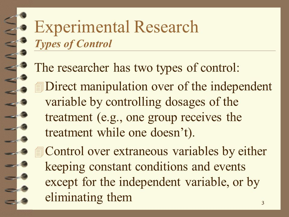 Experimental Research Types of Control