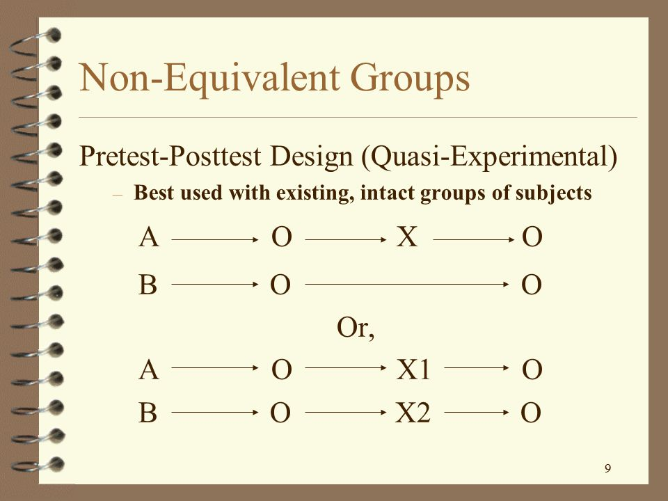 Non-Equivalent Groups