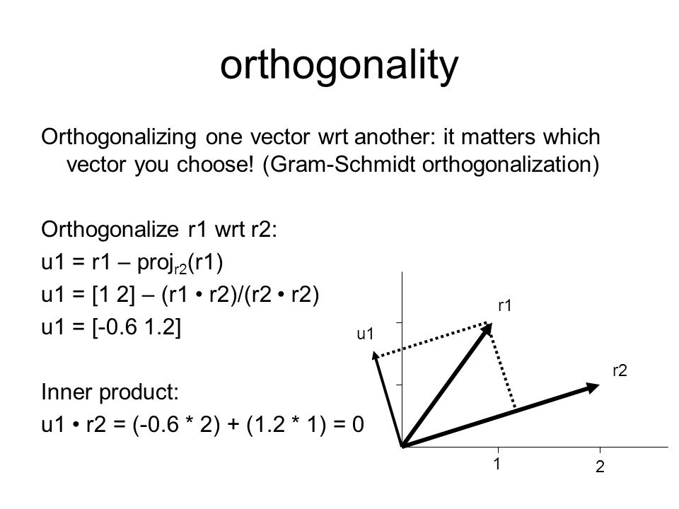orthogonality Orthogonalizing one vector wrt another: it matters which vector you choose! (Gram-Schmidt orthogonalization)