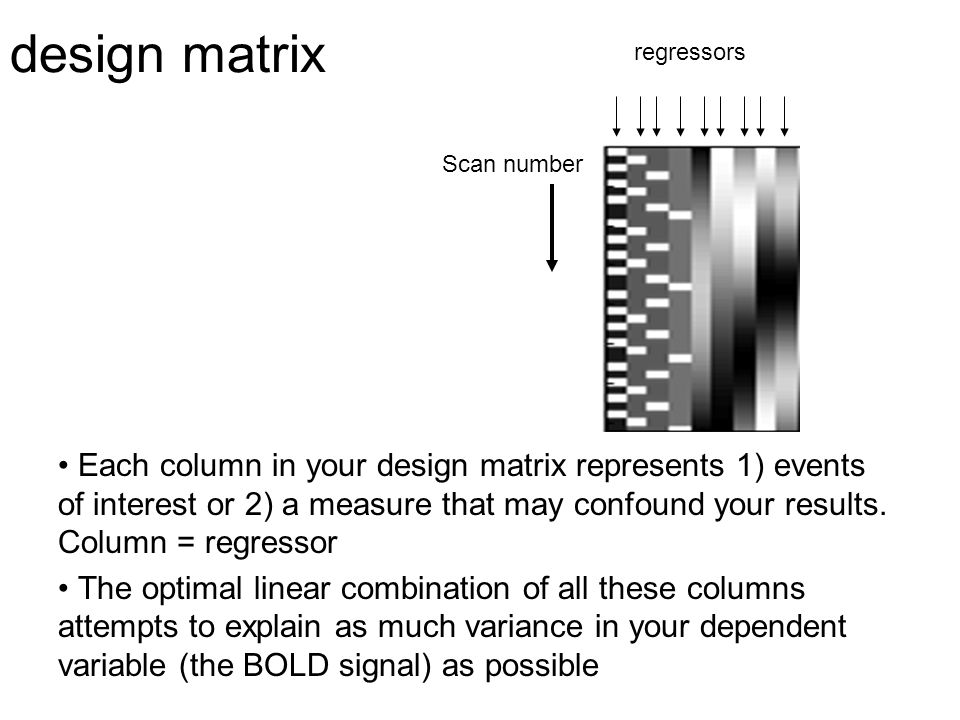 design matrix regressors. Scan number.