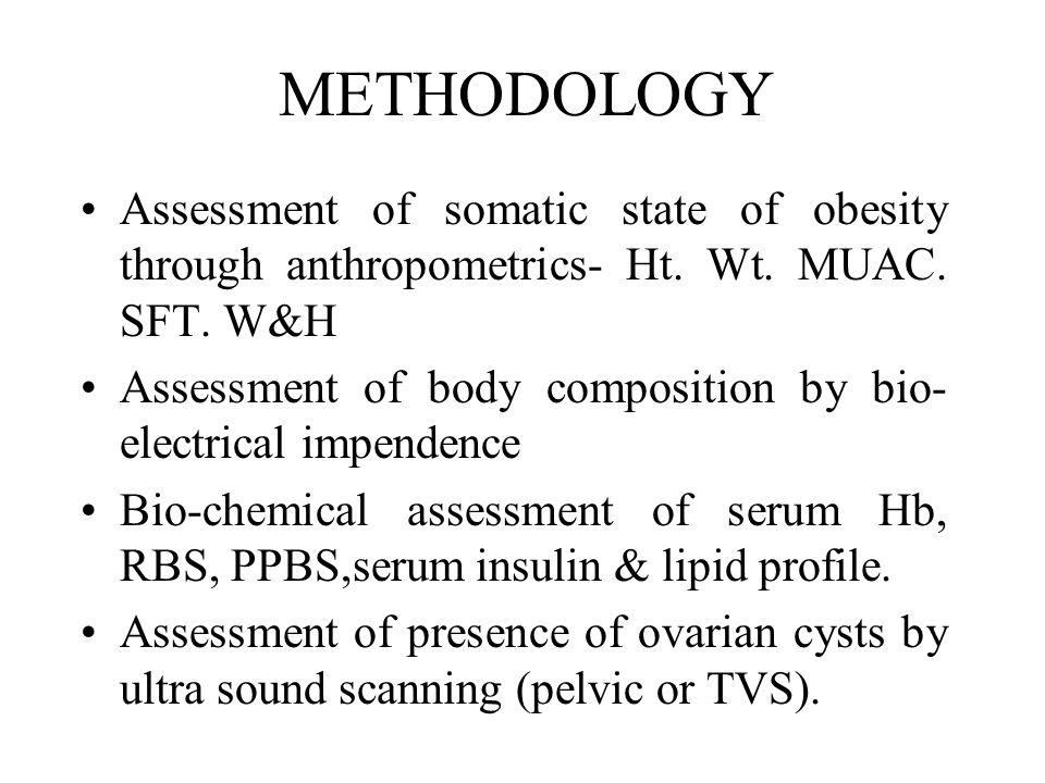 METHODOLOGY Assessment of somatic state of obesity through anthropometrics- Ht. Wt. MUAC. SFT. W&H.