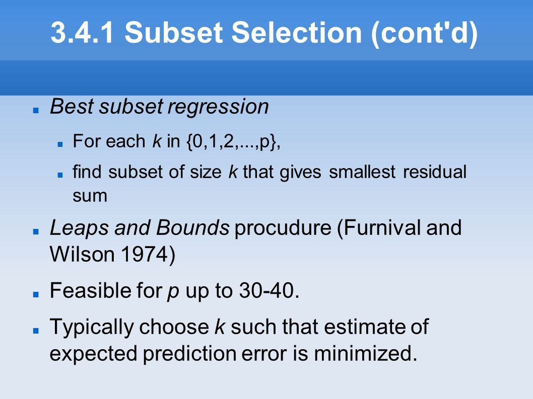 3.4.1 Subset Selection (cont d)‏