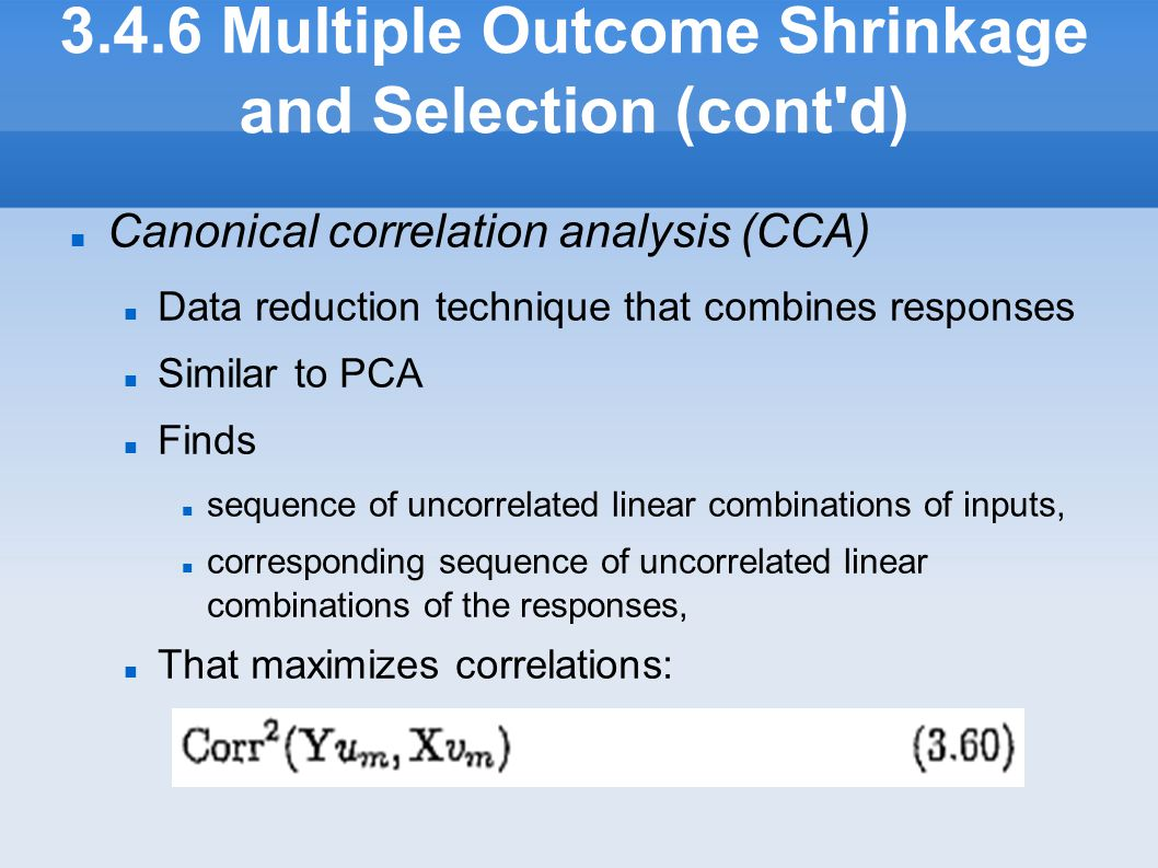 3.4.6 Multiple Outcome Shrinkage and Selection (cont d)‏
