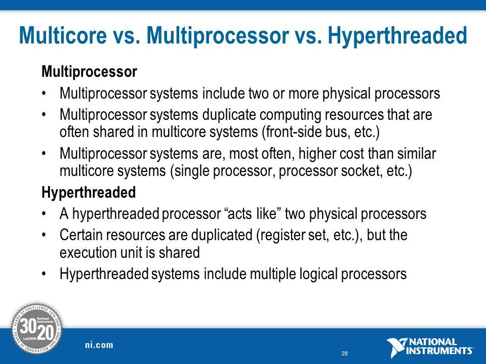 Multicore vs. Multiprocessor vs. Hyperthreaded