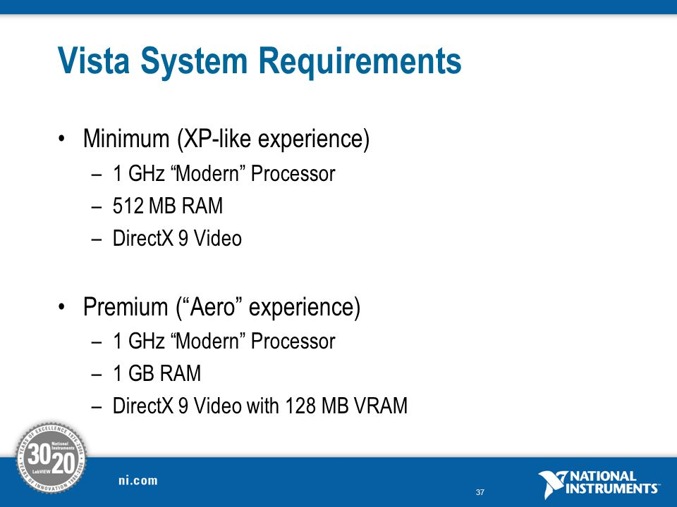Vista System Requirements