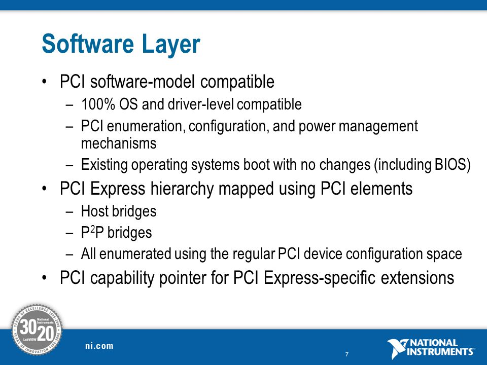 Software Layer PCI software-model compatible