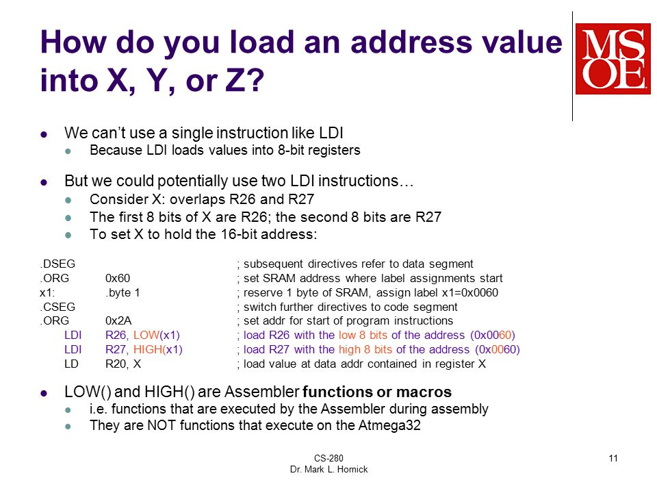 How do you load an address value into X, Y, or Z