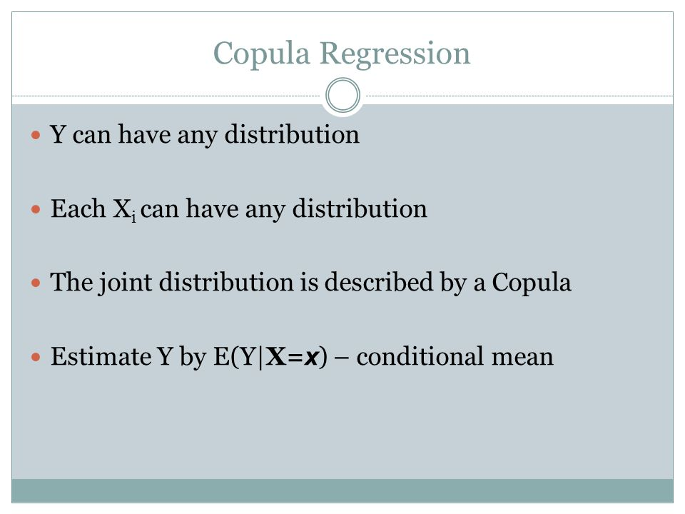 Copula Regression Y can have any distribution