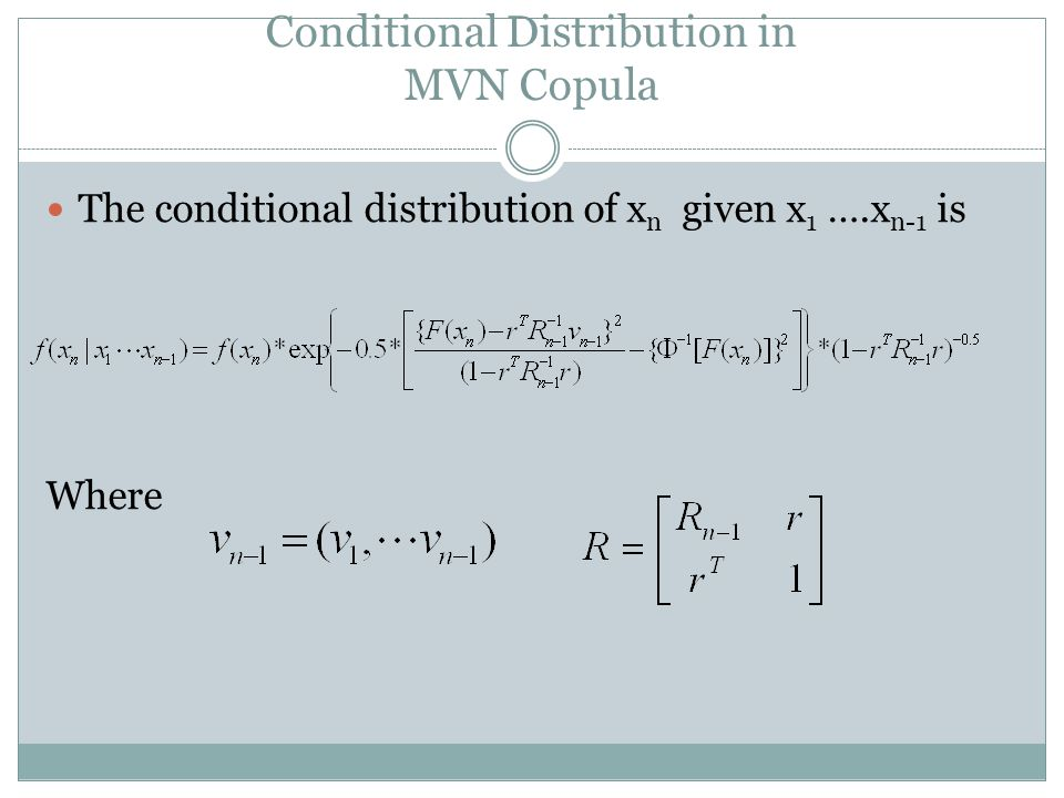 Conditional Distribution in MVN Copula