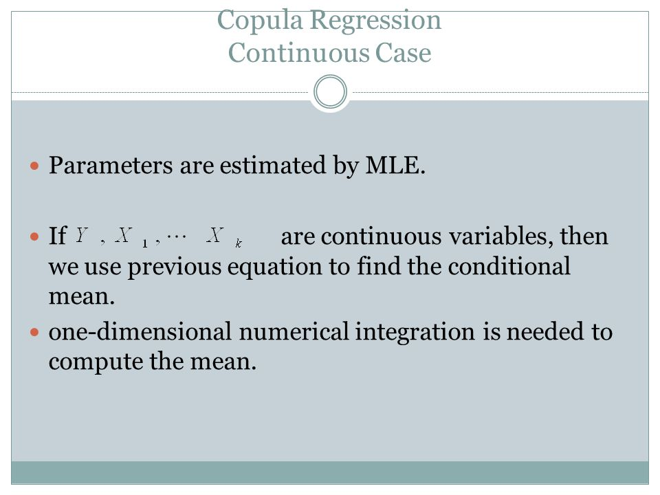 Copula Regression Continuous Case