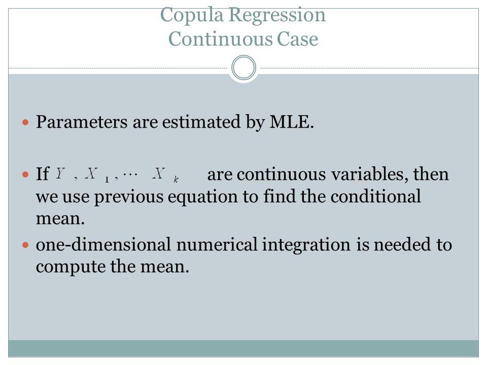 Copula Regression Continuous Case