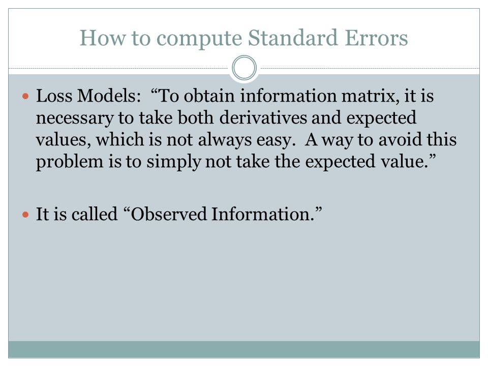 How to compute Standard Errors