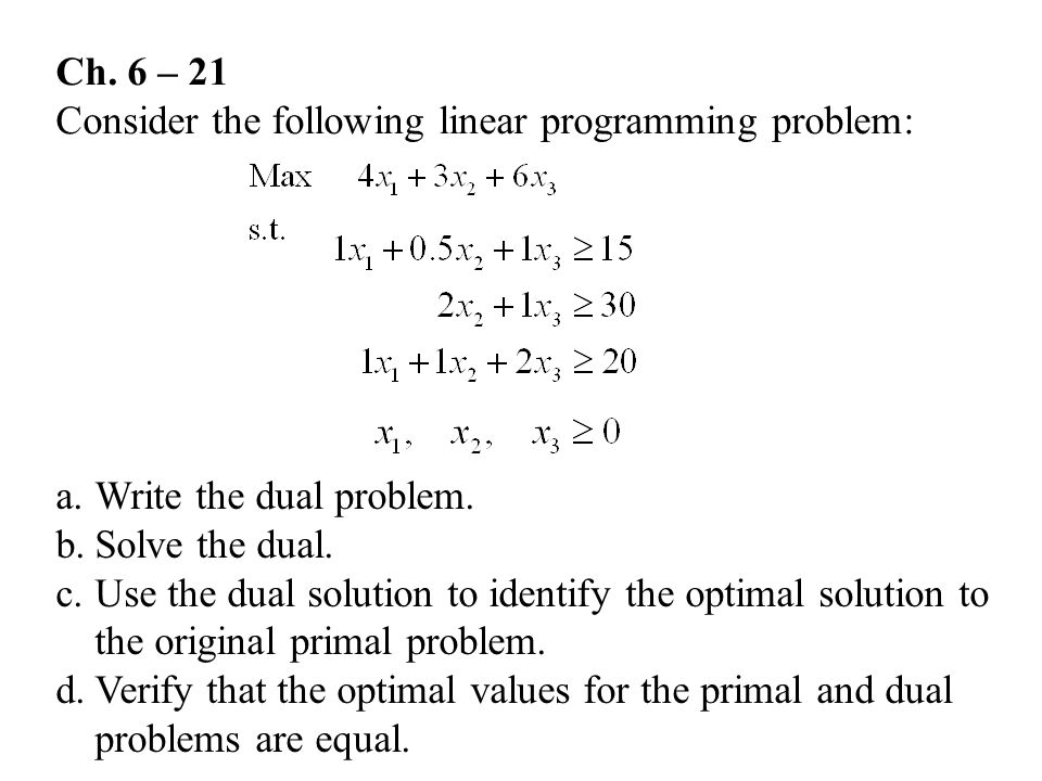 Ch. 6 – 21 Consider the following linear programming problem: Write the dual problem. Solve the dual.