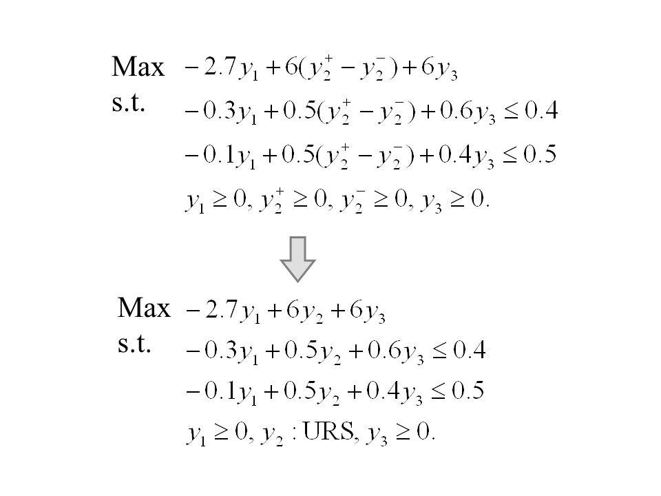 Max s.t. Max s.t.