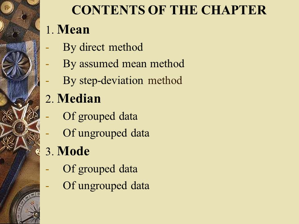 CONTENTS OF THE CHAPTER