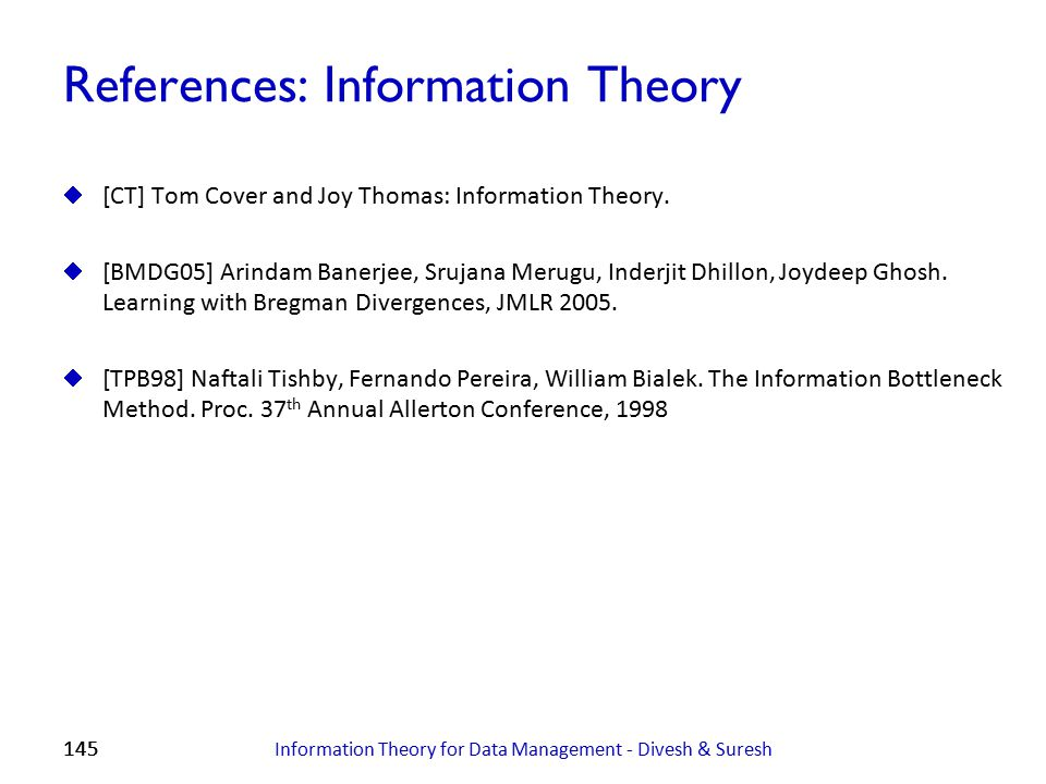 References: Information Theory