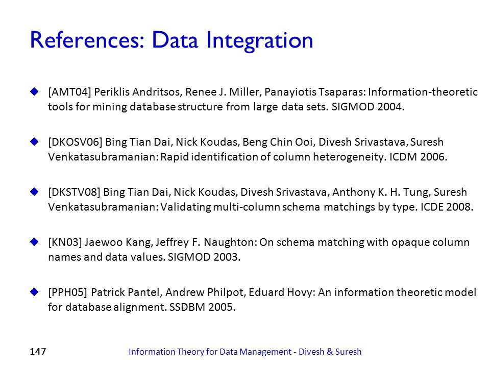References: Data Integration