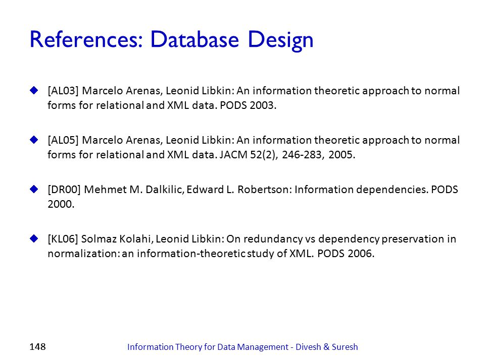 References: Database Design