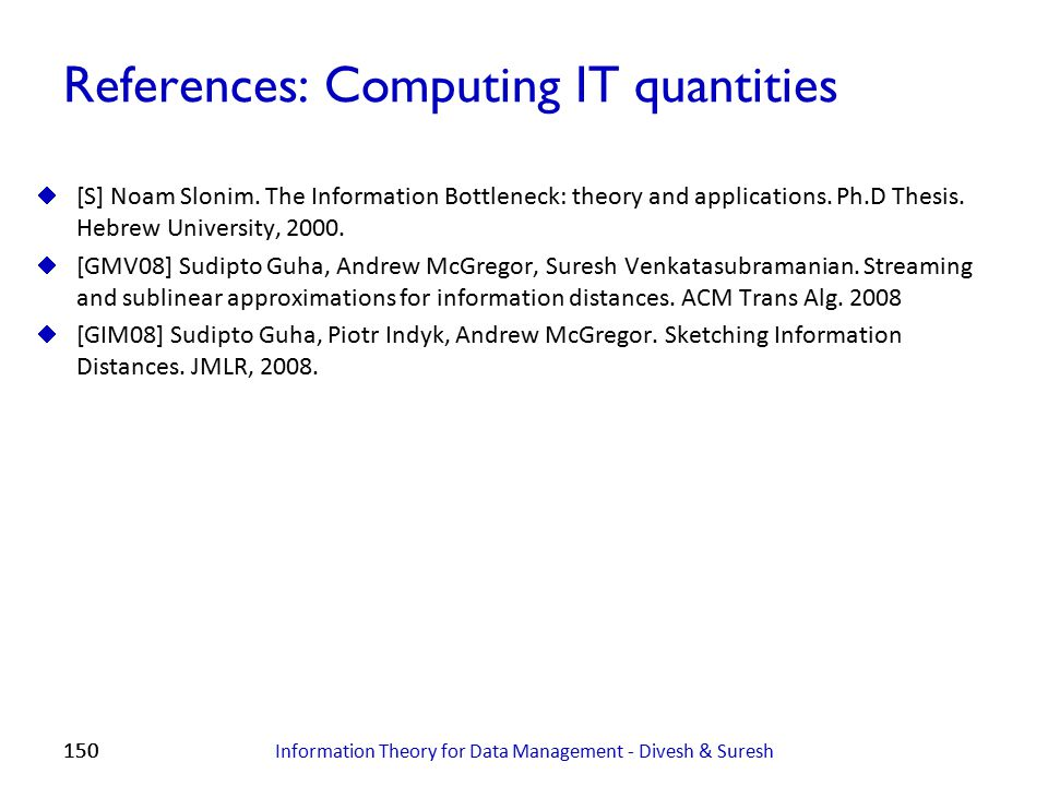 References: Computing IT quantities